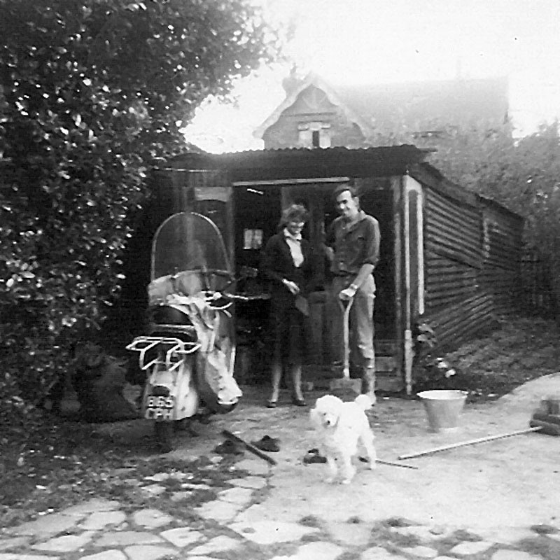 Jeremy and then girlfriend Joan out side their 'packing shed'. 1958