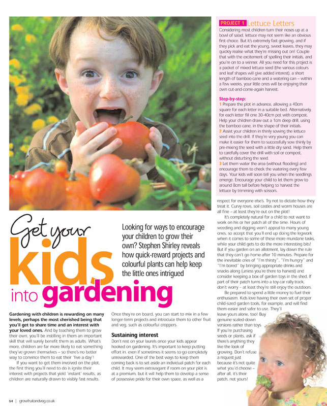 Image of the magazine article 'Get Your Kids Into Gardening'