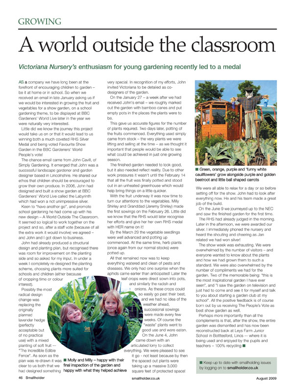 Image of the magazine article 'A World Outside The Classroom'