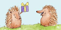 Image of a happy hedgehog receiving a gift.